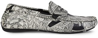 Versace Printed Leather Loafers