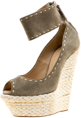 Giuseppe Zanotti Olive Green Suede Espadrille Wedge Ankle Strap Peep Toe Pumps Size 37