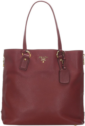 Prada Red Leather Vitello Daino Tote Bag
