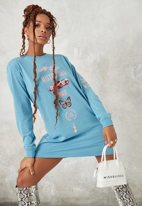 Missguided Blue Oversized Butterfly Graphic T Shirt Dress