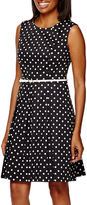 Liz Claiborne Sleeveless Polka Dot Fit-and-Flare Dress