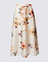Per Una Floral Print A-Line Midi Skirt