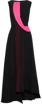 Roksanda Asymmetric Two-tone Silk Crepe De Chine Maxi Dress