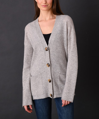 Colour Works by In Cashmere Women's Cardigans Heather - Heather Fog Ribbed Pocket Cashmere Button-Up Cardigan - Women