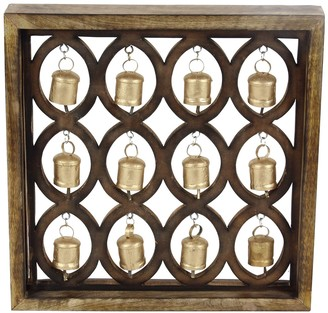 """Willow Row Oval-Patterned 17"""" x 17"""" Wooden Wall Plaque With Metal Bells"""