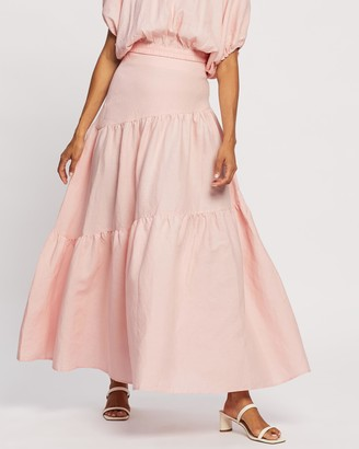 Mossman - Women's Pink Maxi skirts - The Day Break Skirt - Size 12 at The Iconic