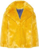 Diane von Furstenberg Faux Fur Coat - Saffron