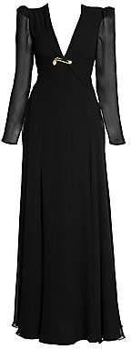 Versace Women's Long Silk Slit Evening Gown