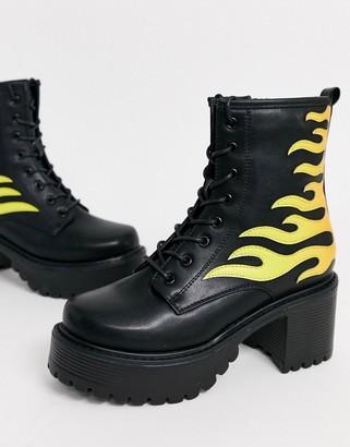 Koi Footwear vegan flame ankle boots in black