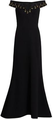 Zac Posen Off-The-Shoulder Embellished Crepe Gown