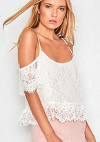 Missy Empire Olympia White Crochet Short Sleeve Crop Top