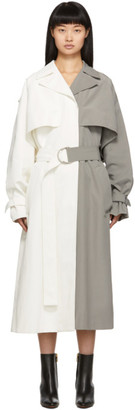 Givenchy White and Grey Oversized Trench Coat
