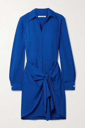 Derek Lam 10 Crosby Harper Tie-front Crepe Mini Shirt Dress - Royal blue
