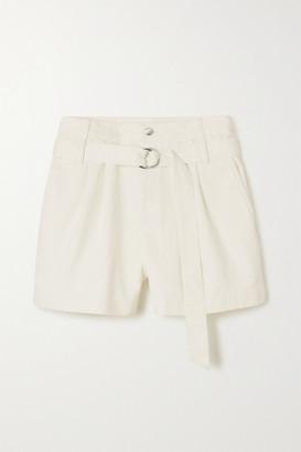 Tibi Belted Pleated Denim Shorts - White