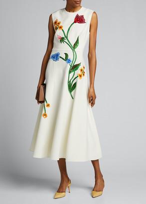 Lela Rose Floral-Embroidered Dress