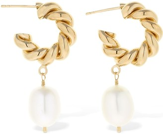 Isabel Lennse 6mm Twisted Loop Earrings W/ Pearl