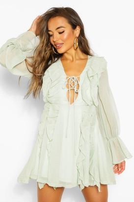 boohoo Petite Frill Lace Up Mini Dress