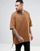 Asos Extreme Oversized Short Sleeve Sweatshirt In Camel