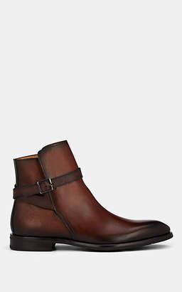 Barneys New York Men's Burnished Saffiano Leather Jodhpur Boots - Brown