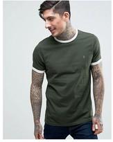 Farah Groves Ringer T-Shirt Slim Fit in Green/Ecru