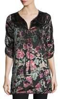 Tolani Joan Floral Velvet Burnout Long Tunic