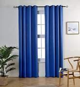 MYSKY HOME Grommet Blackout Leaf Embossed Window Blackout Curtain Panel for Kids Bedroom, 52 by 84 inch, Royal Blue(1 panel)