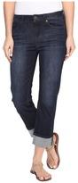 Liverpool Gwen Wide Cuff Capris Vintage Super Comfort Stretch Denim in Vintage Super Dark Women's Jeans