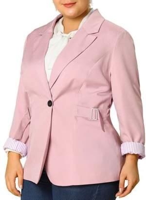 Unique Bargains Women's Plus Size Contrast Stripe Cuff Notched Lapel Casual Blazer