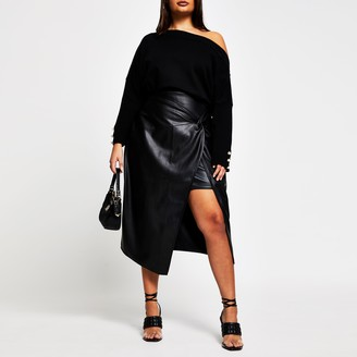 River Island Womens Plus Black faux leather front wrap skirt