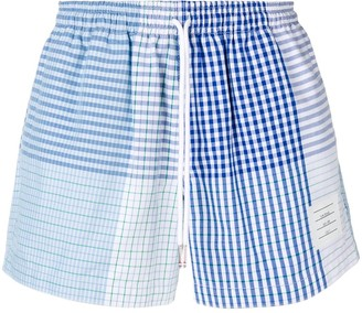 Thom Browne Fun-Mix Check Cotton Rugby Short