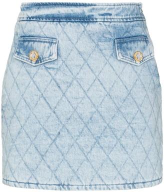 Alessandra Rich Quilted Denim Mini Skirt