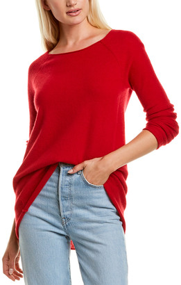 InCashmere Pointelle Raglan Cashmere Sweater