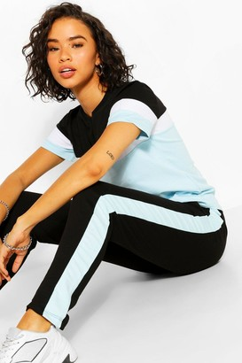 boohoo Colourblock Tshirt And Jogger Set
