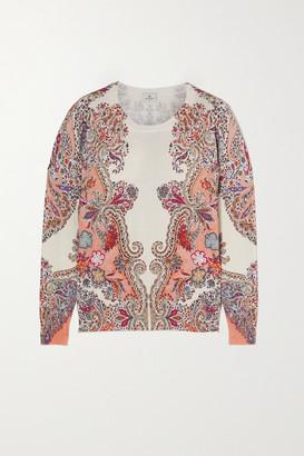 Etro Paisley-print Stretch-silk Sweater - Ivory