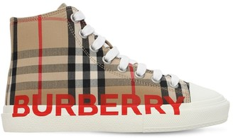 Burberry Check Cotton Lace-Up High Sneakers