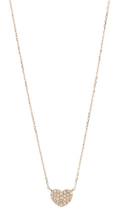 Ron Hami 14K Yellow Gold Pave Diamond Petite Heart Necklace - 0.08 ctw
