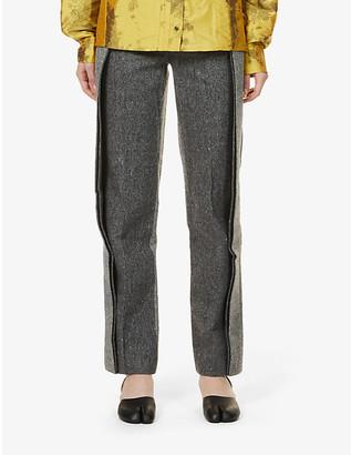 we11done Herringbone-pattern straight-leg high-rise wool-blend trousers