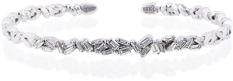 Suzanne Kalan 18K White Gold and diamond Fireworks ZigZag Baguette Bangle