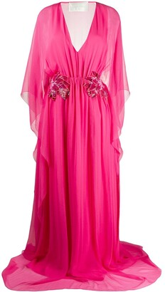 Alberta Ferretti Floral-Detail V-Neck Gown