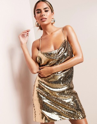Asos Design ASOS LUXE cowl neck all over sequin mini cami dress in gold