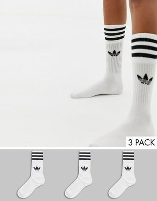adidas trefoil 3 pack crew socks in white