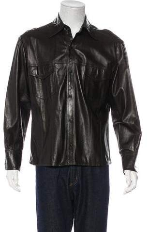 Gucci Leather Snap-Front Shirt