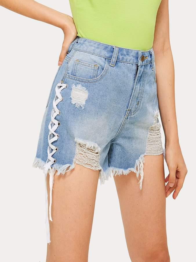 952b3b4cdd Lace Up Denim Shorts - ShopStyle