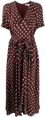 ALEXACHUNG V-neck polka dot print dress