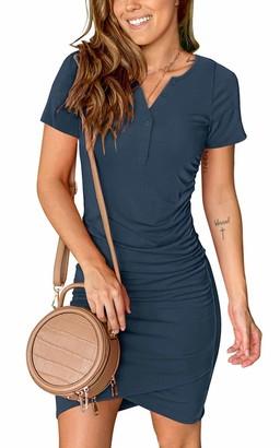 Moyabo Women's Button Up V Neck Short Sleeve Casual Sundress Midi Bodycon T Shirt Dress Summer Dress Light Coffee XX-Large