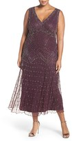 Pisarro Nights Plus Size Women's 'Chevron Motif' Sleeveless Embellished Midi Dress
