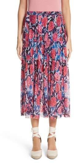 Fuzzi Floral Print Midi Skirt