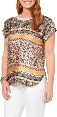 Wit & Wisdom Mixed Print Woven Top