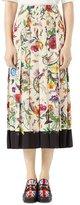 Gucci Flora Snake Silk Skirt, Black/White