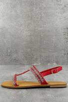 Bamboo Brielle Red Rhinestone Sandals